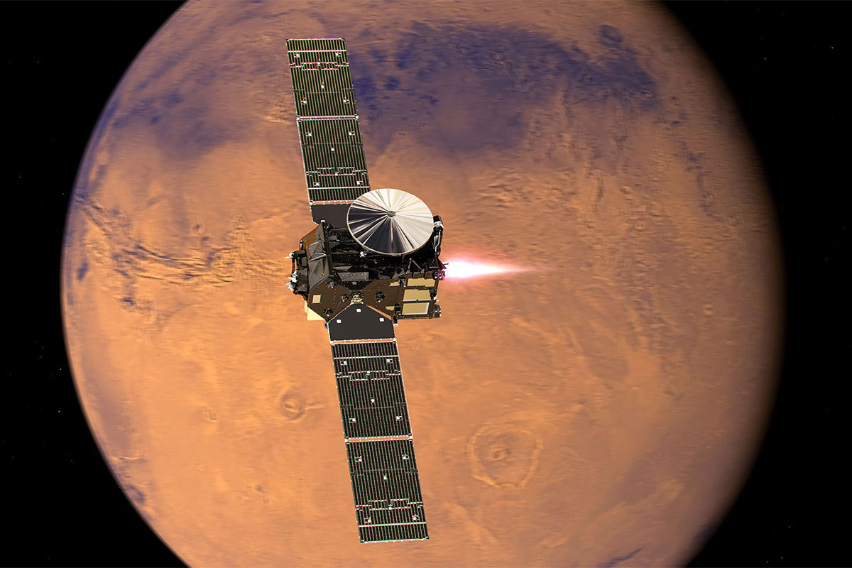 The orbiter has been successfully placed in orbit around Mars - and will sniff for methane