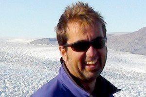 Gordon Hamilton against icy landscape