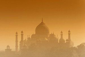 Taj Mahal in orange haze