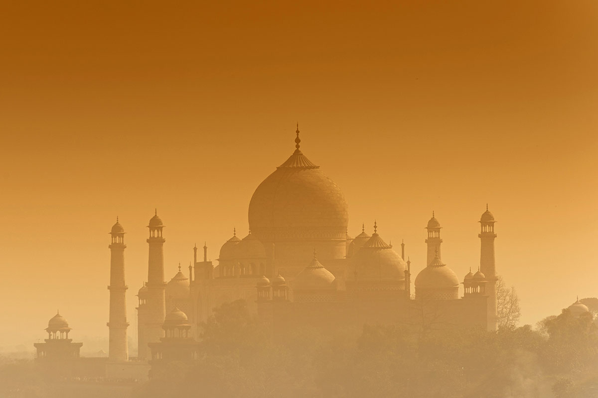 Taj Mahal in orange haze