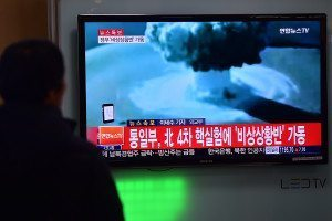 A Tv screen in South Korea shows a news report on a North Korea nuclear test