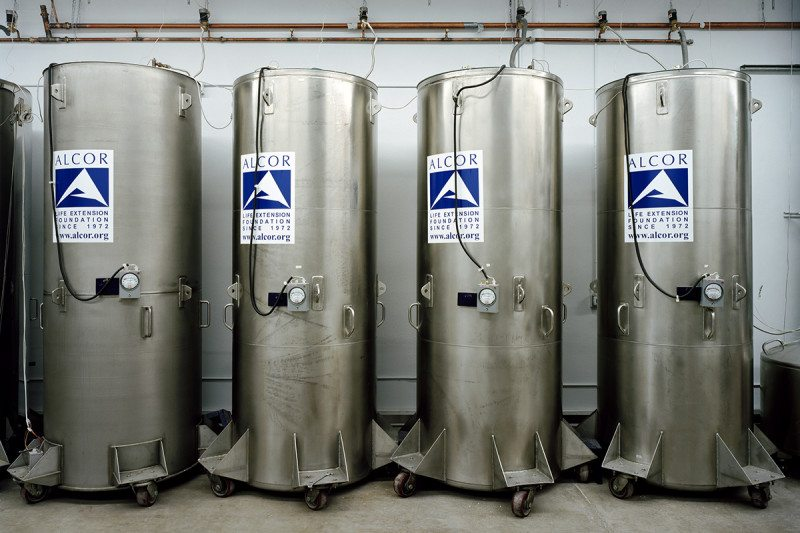 Bodies in these tanks are cooled to -140C with liquid nitrogen