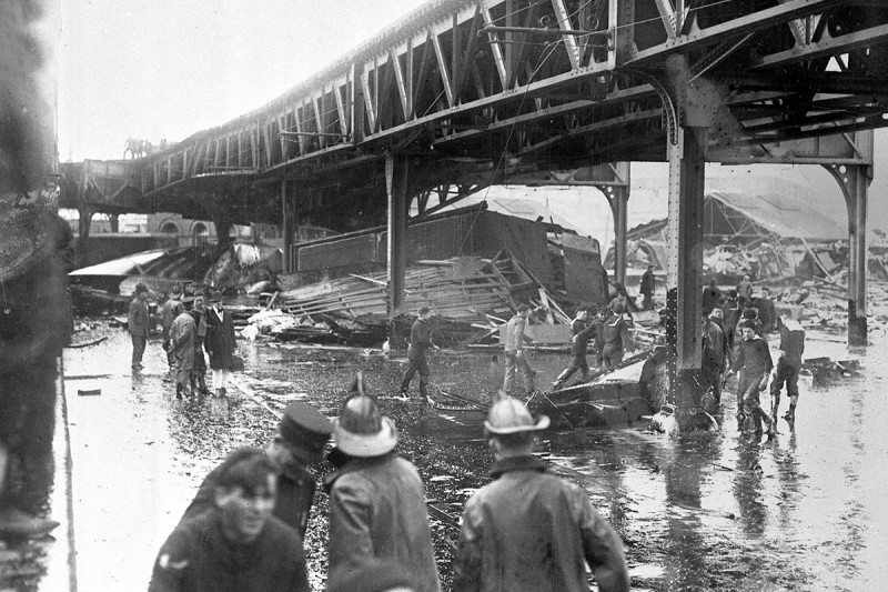 Devastation and flattened buildings in the wake of the molasses flood