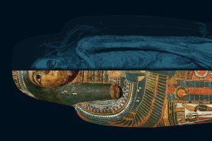 Image split between an ancient Egyptian sarcophagi and a scan of the mummy within