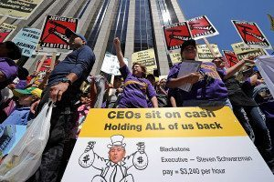 Public protest over executive pay