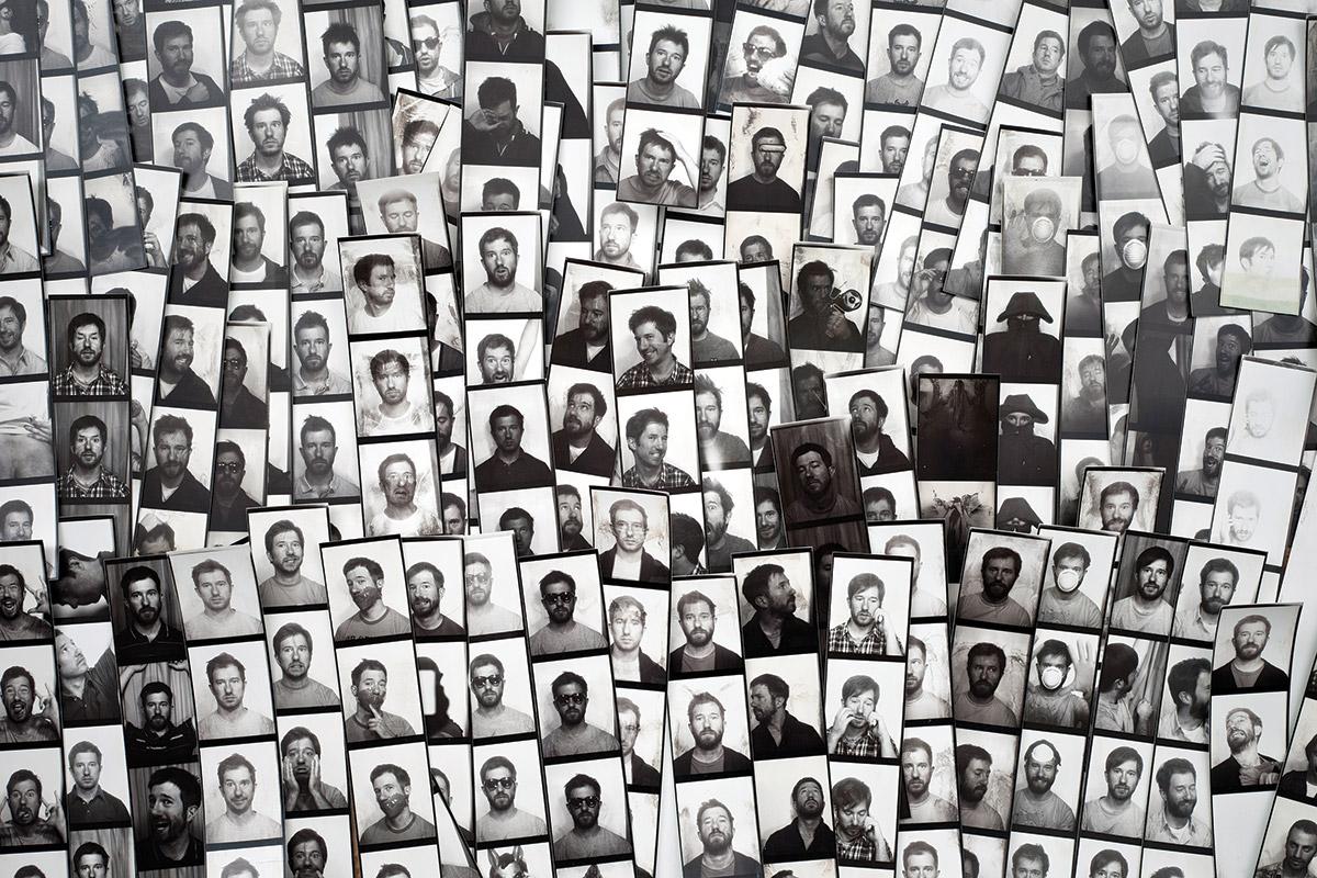 Stacks of photo booth mugshots