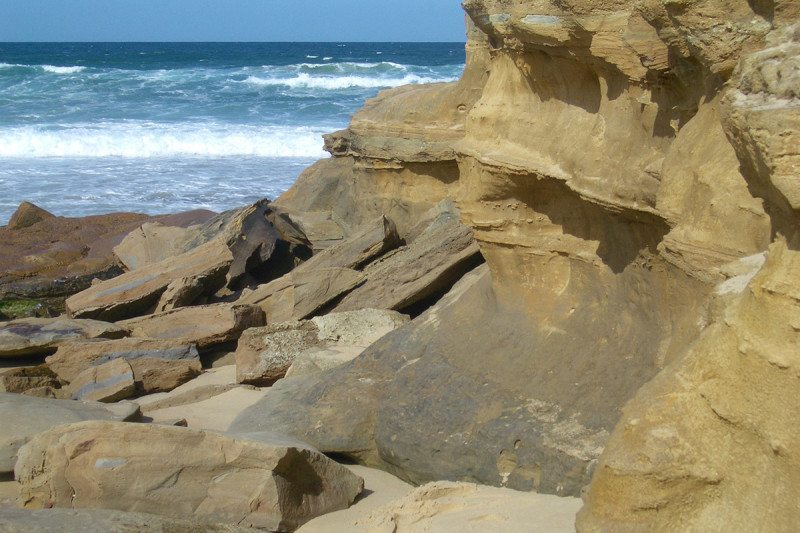 Seaside scene of cliffs and waves
