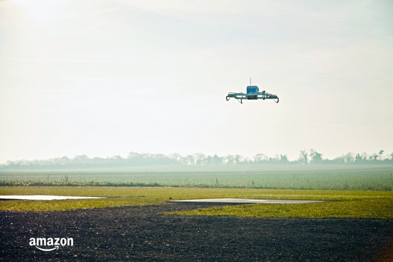 An Amazon drone takes off