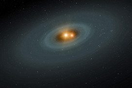 Artists rendition of a binary star with a disc of dust around it
