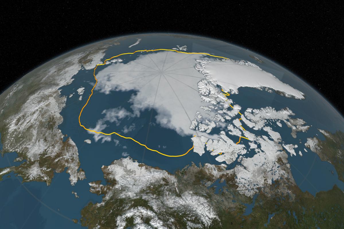 Arctisch zeeijs in september 2016 en het gemiddelde minimum in de periode 1981-2010 (gele lijn). Beeld: NASA