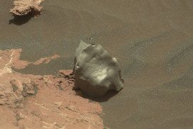 This smooth rock may be a metal meteorite on Mars