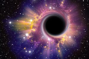 Artwork depicting conventional black hole with brightly coloured matter swirling around it