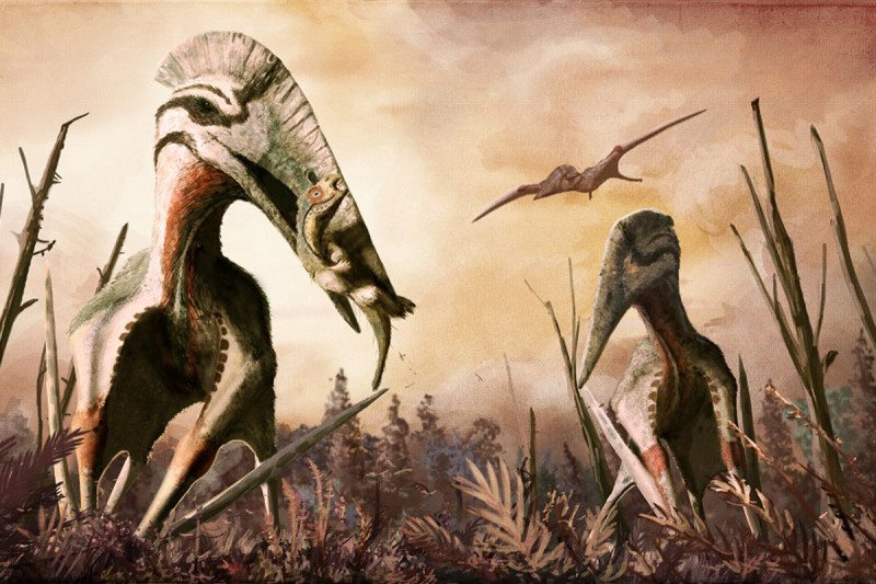 Two dinos on land pursued by winged reptile