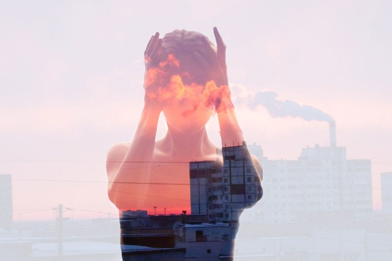 Surreal picture of misty woman