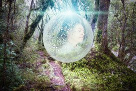 Man in bubble floating through forest