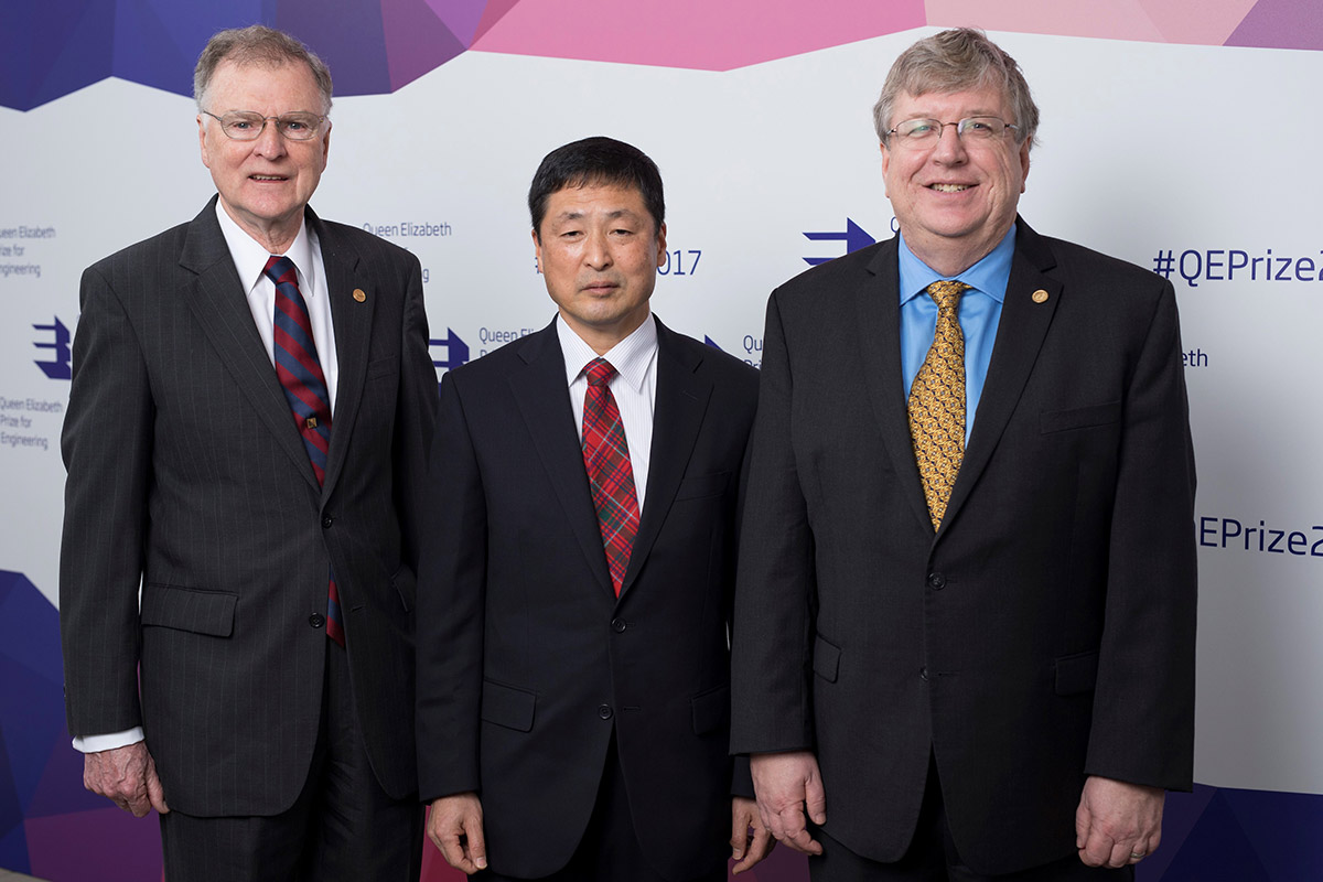 Michael Tompsett, Nobukazu Teranishi and Eric Fossum at the Queen Elizabeth Prize ceremony