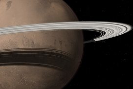 Artist's impression of a grandly ringed future Mars