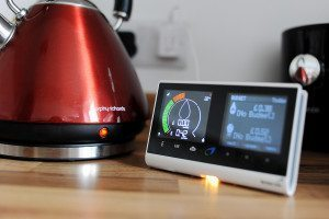 Red kettle pictured with smart electricity monitoring scheme