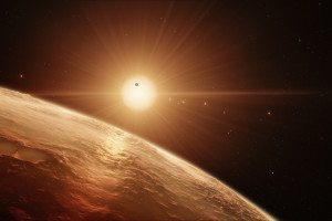 TRAPPIST-1 seen from one of its 7 planets