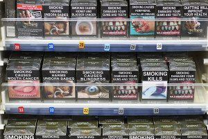 Shelf of cigarette packets