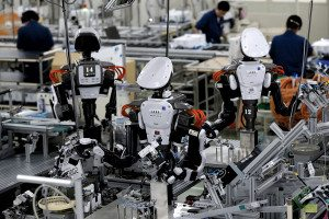 robots on a production line