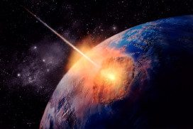 An asteroid hitting Earth
