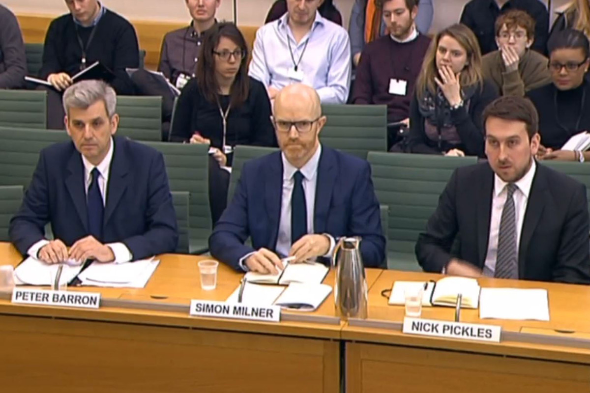 Representatives of Twitter, Google and Facebook answer questions from MPs