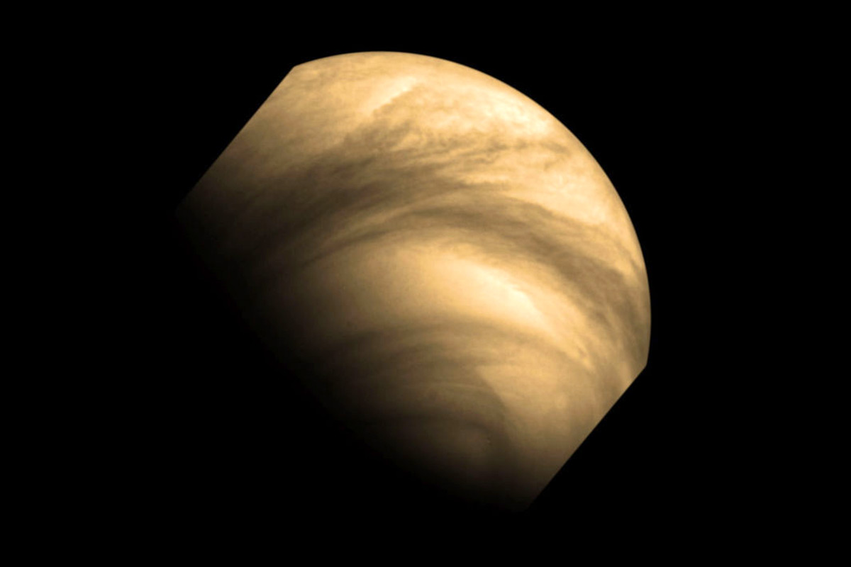 Venus with stripy features in atmosphere