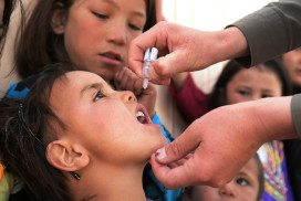 An Afghan child receives a polio vaccine during a vaccination campaign in Ghazni city