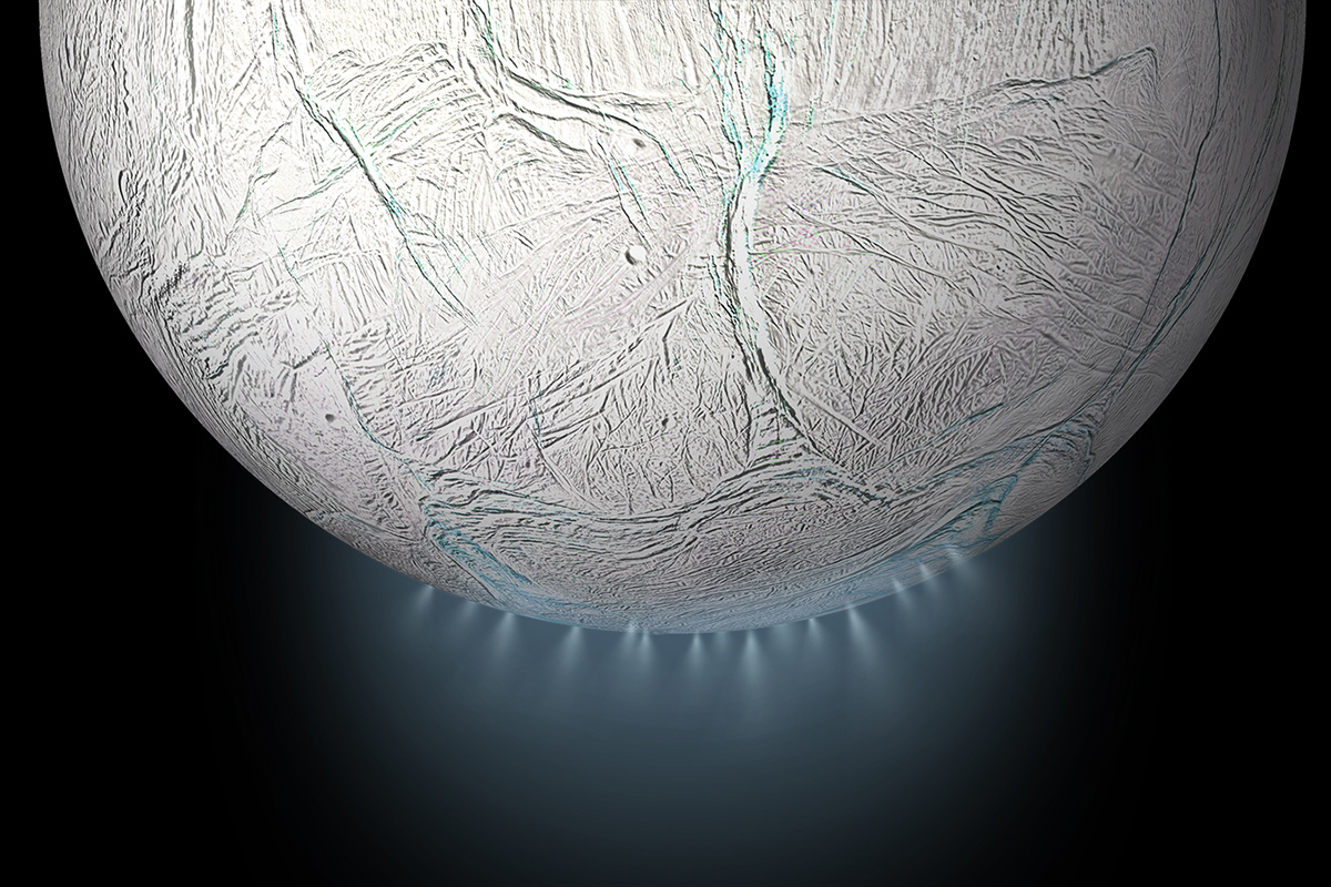 Enigmatic plumes from Saturn's moon caused by cosmic collision