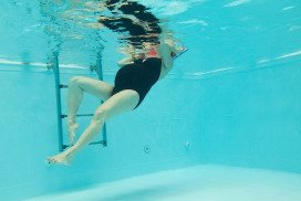 A pregnant woman in a swimming pool