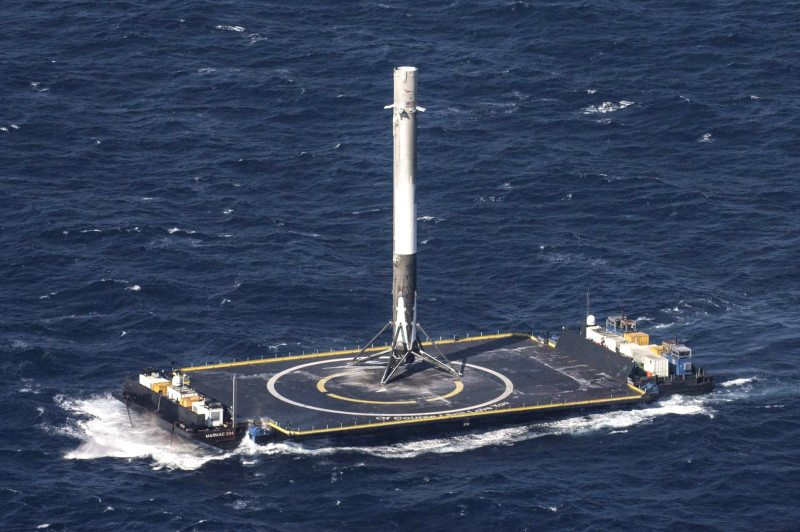 The Falcon 9 rocket's previous landing on a ship