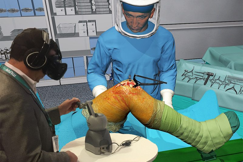 "Knee ""surgery"" using the VR system"