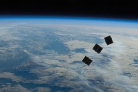 CubeSats being released in space