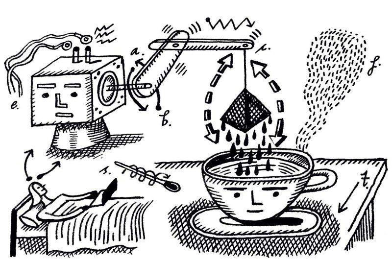 tea making robot cartoon