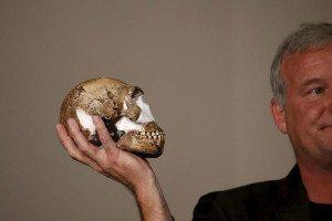 A replica of the skull of Homo naledi