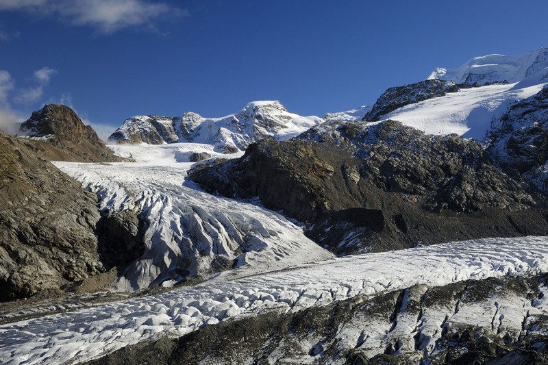 Morteratsch and Pers Glacier in the Alps