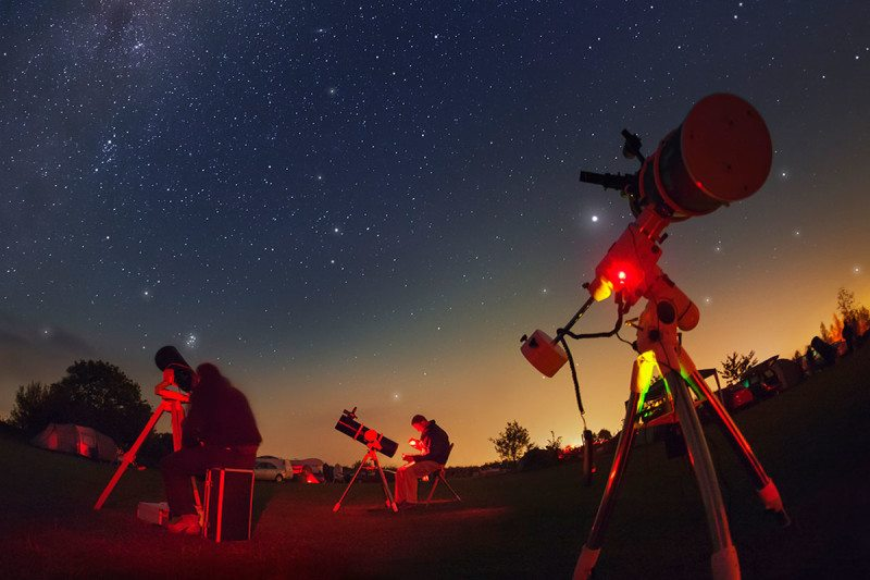 A skyline filled with telescopes trained on the heavens