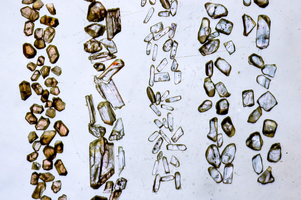 Zircon mineral grains