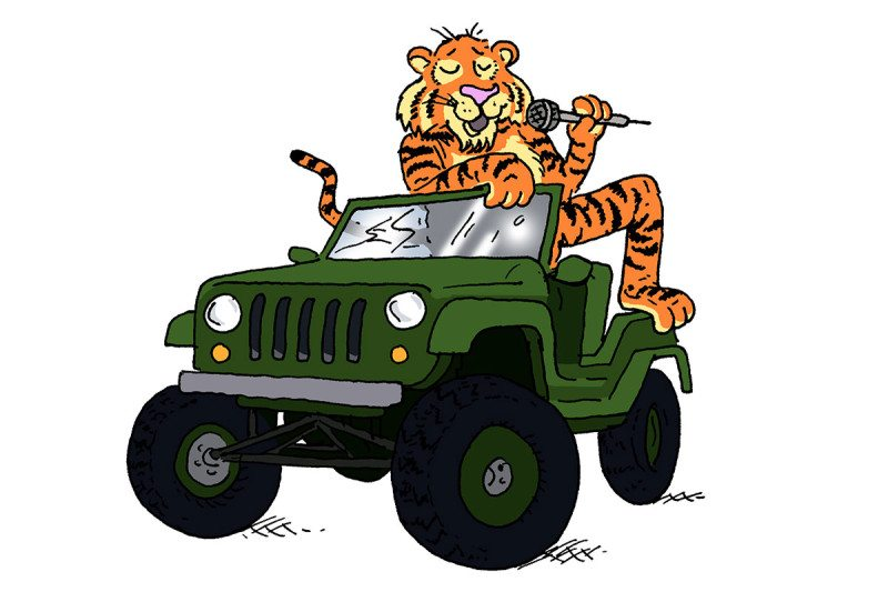 tiger in jeep cartoon