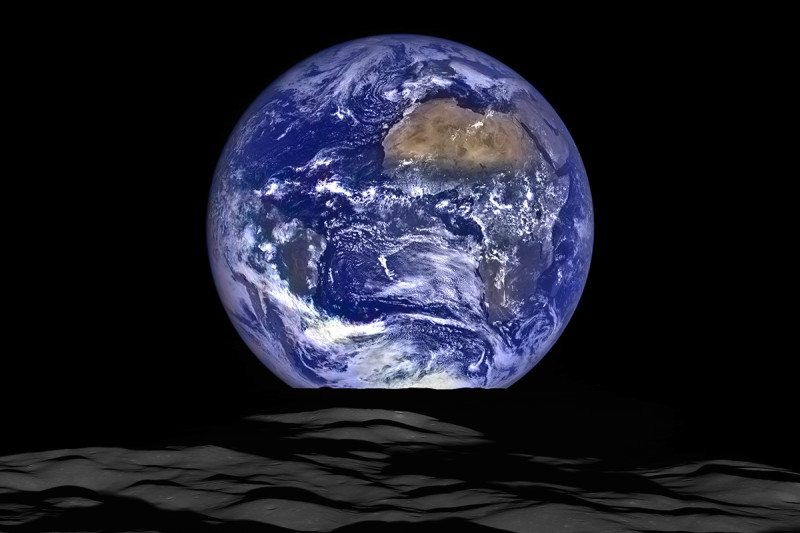 Picture of Earth looking very round and blue