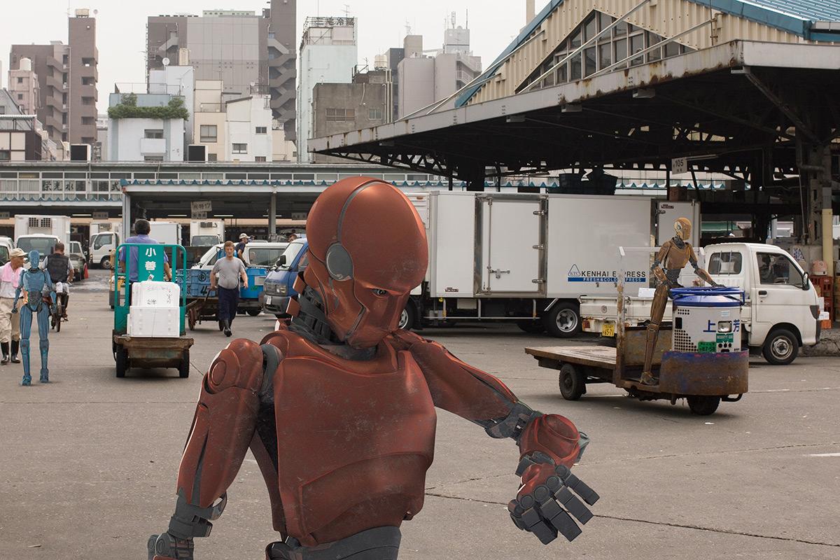 A robot in a depot