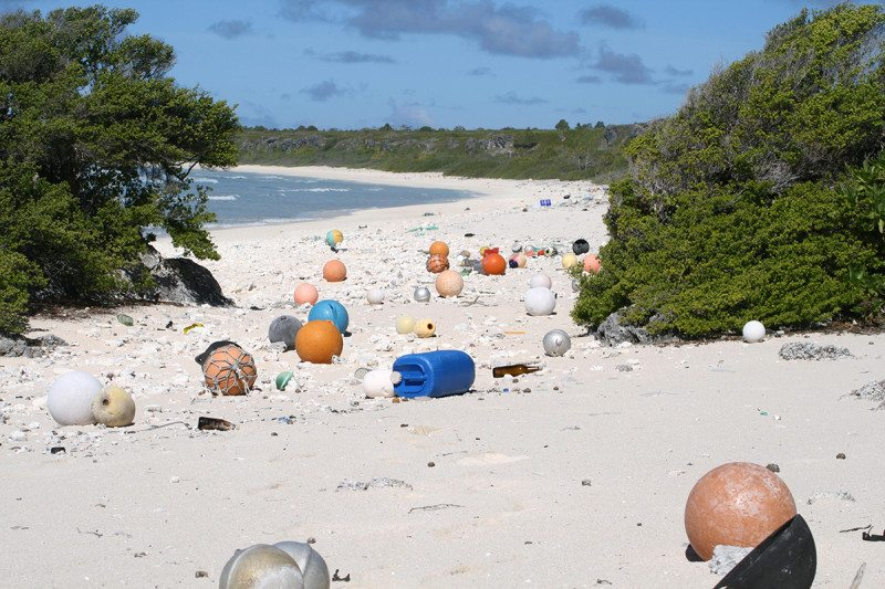 Plastic pollution on beach
