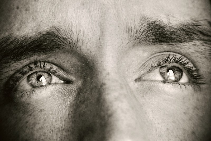 a close-up of a man's eyes