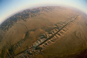 A fault on the Earth's surface seen from the air