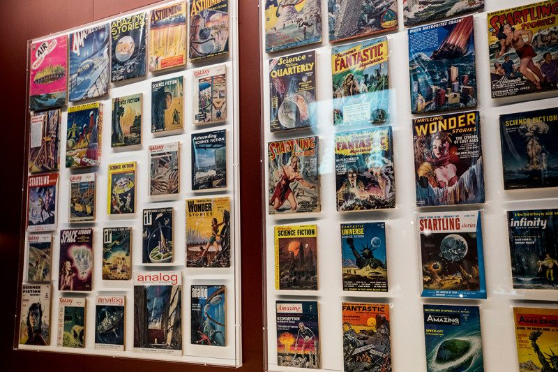 Sci-fi magazine covers in Into the Unknown exhibition