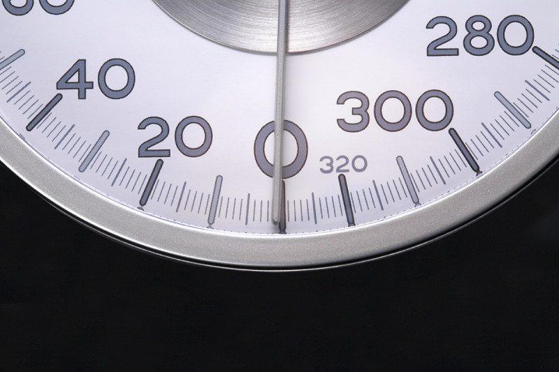 Pointer on circular weighing scales