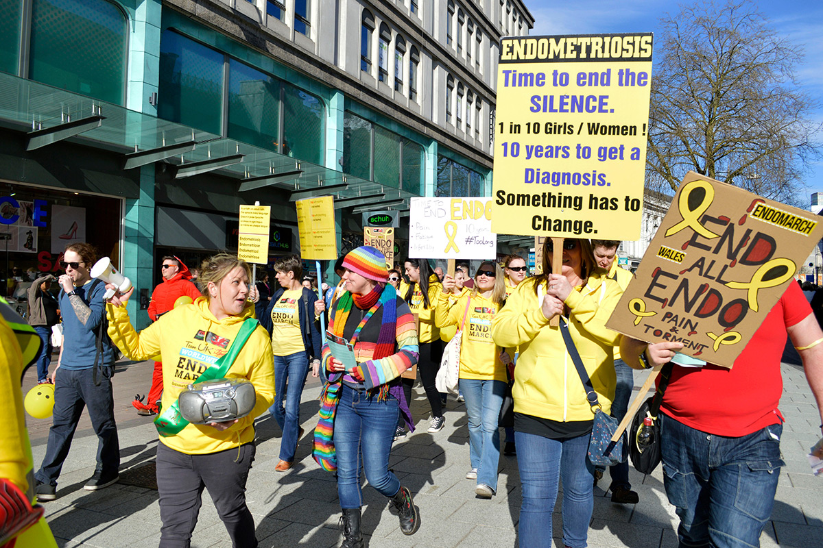 Protest march raising awareness of endometriosis