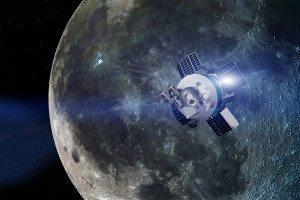 Illustration showing Moon Express probe against lunar backdrop