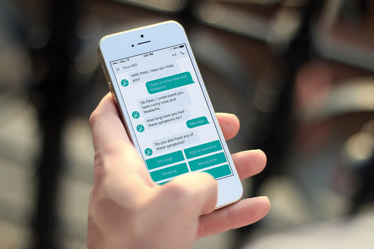 Smartphone showing interactive chat about symptoms